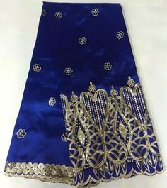 Royal blue and gold African george lace fabric luxury beaded Nigerian lace with sequins embroidery for wedding 5 yards SF490 #Affiliate