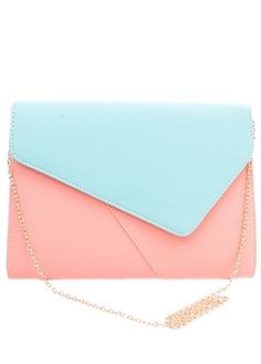 Color-Block Envelope Clutch-- Color of the Month on LoveNestDesign blog-- June is Coral and July is Mint Green