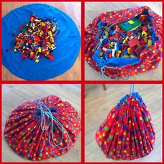 Drawstring block bag which doubles as a play mat when open. Could even make two playmats in one for double block play areas.
