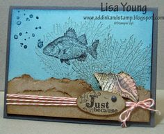 Stampin' Up! By the Tide stamp set. Underwater scene with Fish. Handmade card by Lisa Young, Add Ink and Stamp