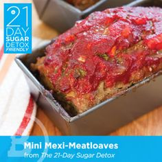 Sugar Detox - Take your basic ground meat and turn it into Mini-Mexi Meatloaves, perfect for or just regular ol paleo meals! - THE SUGAR DETOX Detox Diet Recipes, Sugar Detox Recipes, Paleo Recipes, Whole Food Recipes, Cooking Recipes, Detox Foods, Paleo Food, Detox Meals, Soup Recipes