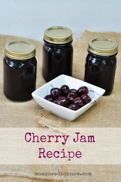 One recipe I love to make ahead for wintertime is this Cherry Jam Recipe. It uses the water bath canning technique, so it's super easy to make, and it tastes really great as well! I think I'll try making cherry jam this year. Cherry Jam Recipes, Jelly Recipes, Dried Cherry Jam Recipe, Can Jam, Sauce Creme, Water Bath Canning, Canned Cherries, Jam And Jelly, Canning Recipes