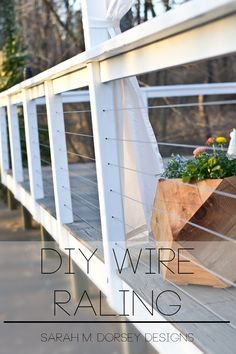 32 DIY Deck Railing Ideas & Designs That Are Sure to Inspire You Hey everyone! Today I'm sharing our DIY wire railing - originally shown on our Home Depot Patio Style Challenge reveal. We wanted something More modern Less obtrusive (before photo at t Diy Deck, Deck Railing Ideas Diy, Deck Railing Design, Back Yard Deck Ideas, Front Porch Deck, Front Porch Remodel, Porch Ideas, Deck Railings, Cable Railing
