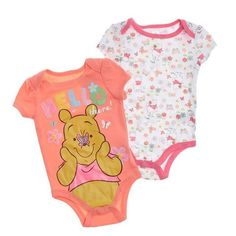 2pk Bright Pooh Bodysuits 0 9m 399138242 | Winnie the Pooh | Character Shop | Burlington Coat Factory