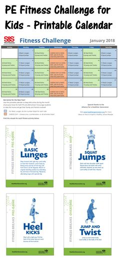 Encourage your students to get active for the New Year! This printable fitness calendar will challenge students to maintain an active, healthy lifestyle during the year, and even to take home over school break and get their family involved. Physical Education Activities, Elementary Physical Education, Elementary Pe, Pe Activities, Health And Physical Education, Fitness Activities, Science Education, Kids Education, Dementia Activities
