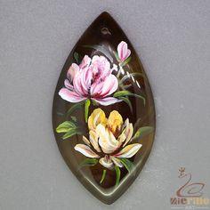 Fashion Pendant Hand Painted Flower Natural Gemstone   ZL805253 #ZL #Pendant