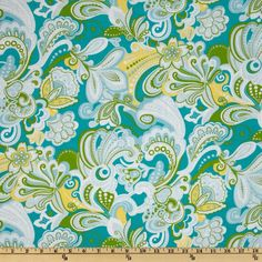 Cotton Lawn Paisley Green/White/Yellow  Item Number: FF-176