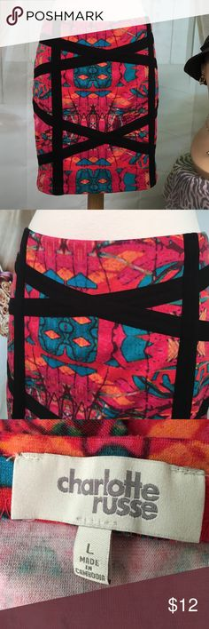 "Charlotte Russe Multi Colored Skirt Today, featuring in Kaki Jo's closet is this sexy little multi colored skirt.  Absolutely love the colors.  Zipper in back.  New condition.  Size L.  Waist is 30, length is 16 1/2"". Charlotte Russe Skirts Mini"