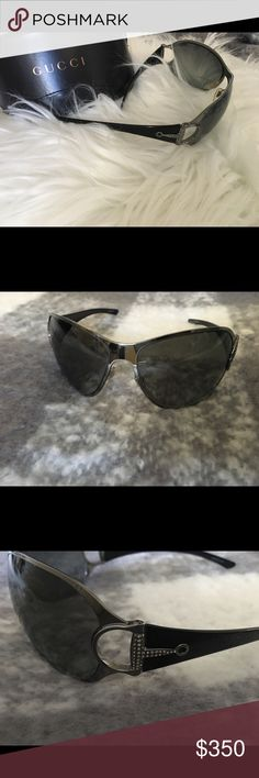 Used Gucci aviator sunglasses with crystals Used Gucci aviator sunglasses with crystals on the temple. If you have any questions about this item feel free to ask me.  I have other items listed in my closet. If you're interested in this, you might be interested in something else I have up. Check it out. :) Happy shopping! Gucci Accessories Sunglasses