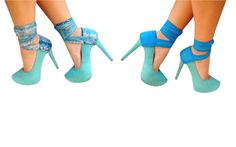 Reversible Heel Condoms / Sexy snake print ribbons in shades of blue with a reversible side in a beautiful sky blue, two Heel Condoms in one!