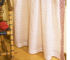 Designer luxury Bohemian Classic Beige Sheer Curtain- Hand Block Printed- Classic Red Indian Sheer Curtain from Attiser