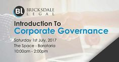 Bricksdale Legal hosts an Introduction To Corporate Governance at The Space in Barataria on Saturday 1st July, 2017 (10:00am-2:00pm).  This introductory workshop will provide the basic fundamentals of Corporate Governance and its operation in the world of business.   Registration Fee: $400 (Light refreshments will be provided).  Deadline for Registration: 24th June, 2017.  To register inbox us on Facebook for a copy of the registration form or contact our facilitator at…