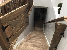 An ended up basement is one that has a ceiling which covers piping, walls that cover your home's structure and often tiled floors. Rustic Staircase, Staircase Handrail, Interior Staircase, Staircase Ideas, Bannister, Stair Railing, Railings, Rustic Basement, Basement Stairs