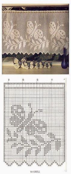Crochet Curtains, Crochet Pillow, Crochet Doilies, Knit Crochet, Sewing Patterns, Fillet Crochet, Graph Design, Crochet Designs, Crochet Motif