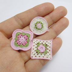 3 miniature crochet potholder or coaster for dollhouse by MiniGio