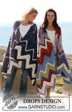 Frazada DROPS, en ganchillo / crochet, con patrón zigzag en Eskimo.