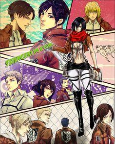 Shingeki no Kyojin - Eren, Levi, Armin, Jaen, Cannie, Bertholdt, Reiner, Annie, Sasha, Mikasa and Ymir