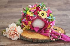 Sitter Flower Bonnet Summer RTS Photo Prop by LouLouBoutiquee