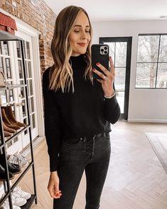 Fashion Jackson Wearing Amazon Fashion Black Mock Neck Sweater Black Jeans Black Sweaters, Sweaters For Women, Sweater And Jeans Outfit, Sweater Layering, Fashion Jackson, Sweater Design, Maxi Dress With Sleeves, Fashion Black, Mock Neck