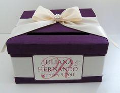 Plum and Ivory Wedding Shower Card Box