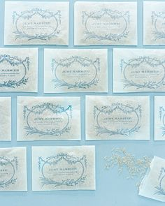 Rice Packets  Glassine bags stamped in blue with the couple's names and their wedding date hold rice for tossing.