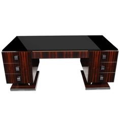 Macassar Art Deco Style Desk | From a unique collection of antique and modern desks and writing tables at https://www.1stdibs.com/furniture/tables/desks-writing-tables/