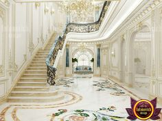 Marble tiles and panels are laid according to the design idea, which is discussed in advance with the customer. Interior Design Companies, Staircase Design, Foyer Design, Interior Dsign, Apartment Interior Design, Villa Design, Gorgeous Flooring, Floor Design, Luxury Marble Flooring