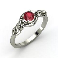Round Ruby 14K White Gold Ring - Sailor's Knot Ring   Gemvara
