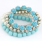 Betsey Johnson New designs fresh blue flowers multilayer pearl bracelet b B057 - Designer Jewelry Galleria