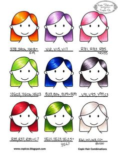 Alternative Copic Hair Colour Combinations - bjl