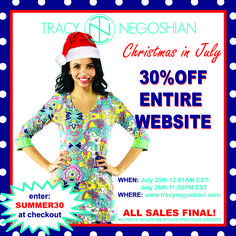 ONLINE SALE IS LIVE!!! Shop tracynegoshian.com and enter promo code: SUMMER30 @ checkout to receive 30% OFF THE ENTIRE SITE! This includes new markdowns and final sale items! Don't miss out!
