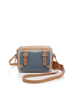 Etienne Aigner Crossbody - Pebbled Leather/Suede Mini Stag | Bloomingdale's