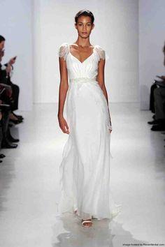 V Neck Sheath Wedding Dress 1