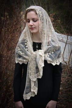 Your place to buy and sell all things handmade Chapel Veil, Gold Pattern, Organza Bags, Victorian Fashion, Wrap Style, Lace Trim, Vintage Inspired, Things To Buy, Ivory