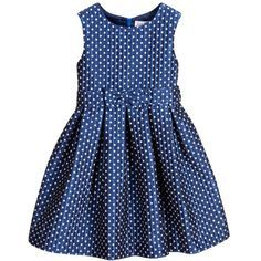 Girls metallic blue sleeveless damask dress by Rachel Riley with a pattern of white squares. The lining is silky smooth and it has a zip on the back to fasten. Kids Dress Wear, Baby Dress, Little Girl Dresses, Girls Dresses, Baby Girl Fashion, Kids Fashion, Dress Anak, Kids Frocks Design, Girl Dress Patterns
