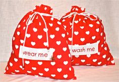 """Travel lingerie bags  red hearts by bamabags on Etsy, €18.00 13 x 14"""""""