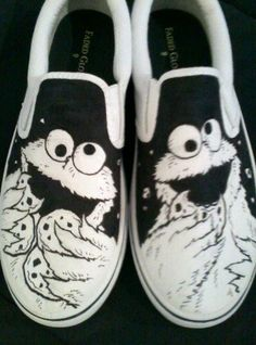 Hand drawn, one of a kind Cookie Monster shoes. If you want a pair of your own custom shoes, send me a message with your shoe size and what you want on them! Prices: $49.99 plus shipping. Painted Vans, Painted Shoes, Sharpie Shoes, Paint Cookies, Van Design, Shoe Designs, Waiting List, Walk This Way, Gym Shirts