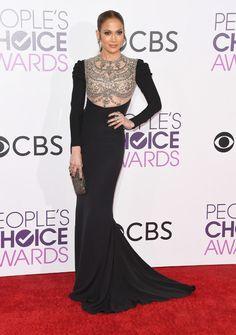 Jennifer Lopez vestida de longo da Reem Acra (Foto: Christopher Polk / Getty Images)