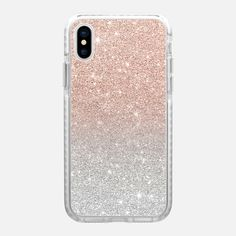 Modern trendy rose gold glitter ombre silver glitter by Girly Trend