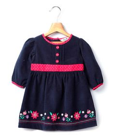 Love this Navy Embroidered Cord Long-Sleeve Dress by Beebay on #zulily! #zulilyfinds