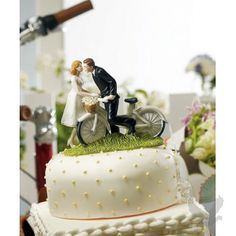 """""""A Kiss Above"""" Bicycle Bride & Groom Wedding Cake Topper Figurine"""