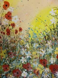 ARTFINDER: Sky on fire by Jane Morgan - This painting was inspired by all the lovely rich colours of poppies as the sun goes down, the sky on fire with orange and red. I used my hybrid watercolour/...