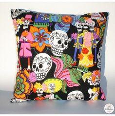 "Dia De Los Muertos ""Sugar Skulls"" Rockabilly Pillow  Laura they are asking 38$ for this! lol"