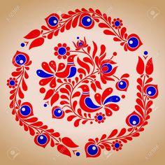 Embroidery Hungarian Hungarian folk vector motives by tupia, via ShutterStock - Chain Stitch Embroidery, Embroidery Stitches, Embroidery Patterns, Hungarian Embroidery, Folk Embroidery, Folk Art Flowers, Flower Art, Stitch Head, Polish Folk Art