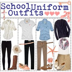 """""""School Uniform Outfits"""" by tipgirlsofpolyvore on Polyvore on the far left FIFTH DAY MATERIAL"""