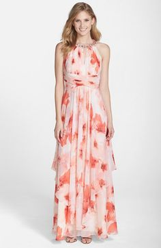 Eliza J Embellished Floral Print Chiffon Gown