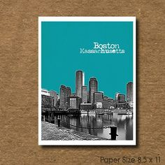 Boston art - City Skyline Art Print - Boston  Massachusetts Skyline. $19.95, via Etsy.