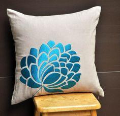 "Blue Caroline- Throw  Pillow Cover - 18"" x 18""  Decorative Pillow Cover - Light Dessert Sand Linen with Blue Flower Embroidery. $23,00, via Etsy."