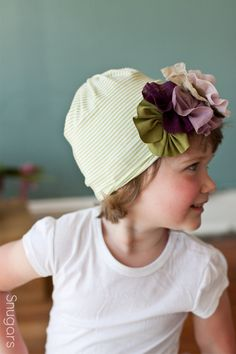 Plum lace parade Snugar hat for baby or little girl- Snugars classic stretchy hat in soft green  If only this was a headband