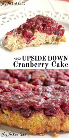 Upside Down Cake with Cranberries - Low Carb Keto THM S Gluten-Free Grain-Free Sugar-Free - This Cranberry Upside Down Cake combines a tender yellow cake with a sweet cranberry topping. The red berries are a delightful contrast to the light cake. Keto Friendly Desserts, Low Carb Desserts, Low Carb Recipes, Dessert Recipes, Diabetic Desserts, Healthier Desserts, Flour Recipes, Paleo Recipes, Cranberry Upside Down Cake
